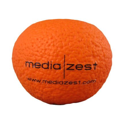 Orange stress ball shape with logo