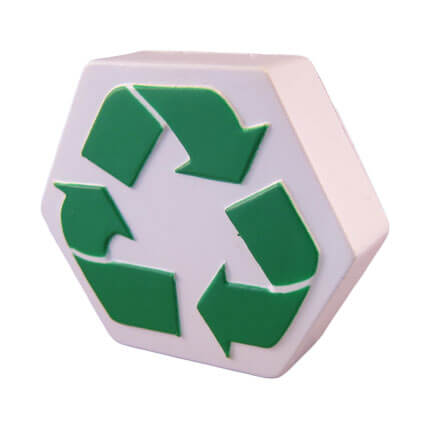 Recycle logo shaped stress ball