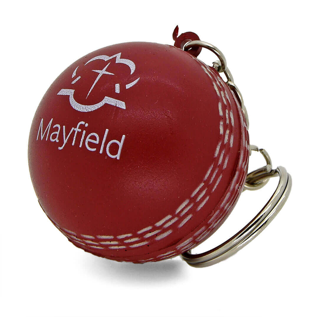 Stress Cricket Ball Keyring Front and Seam