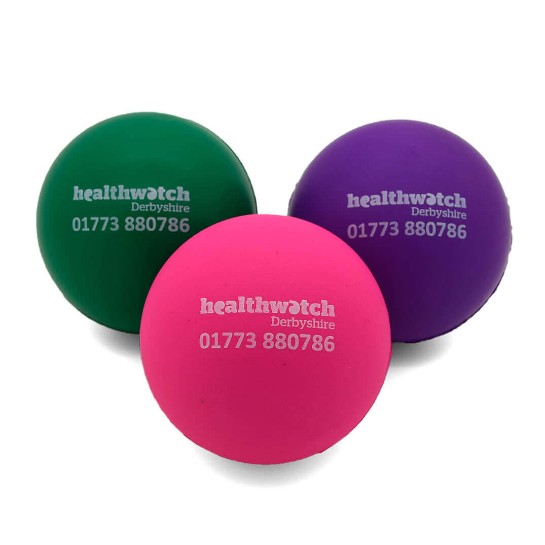 Green Pink and Purple 60mm Stress Balls