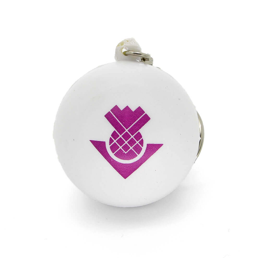 White Stress Ball Keyring Front View