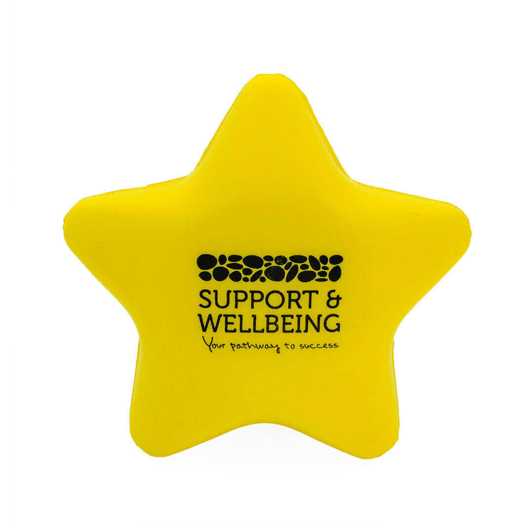 Yellow Stress Star Front View with Logo