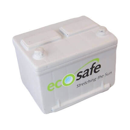 Car battery shaped stress ball with logo