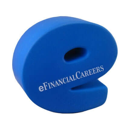 e shaped stress ball with logo