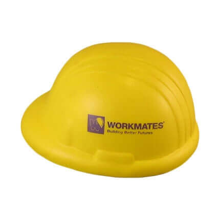 Yellow hard hat stress ball with logo