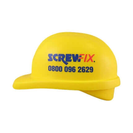 Hard hat shaped stress ball with logo