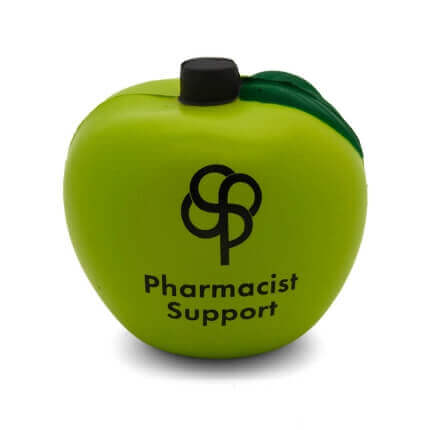 Green apple stress ball with logo