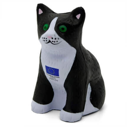 Black Cat Shaped Stress Ball Front Side View
