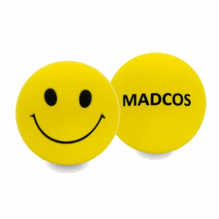 Smiley Faced Stress Ball Front and Rear
