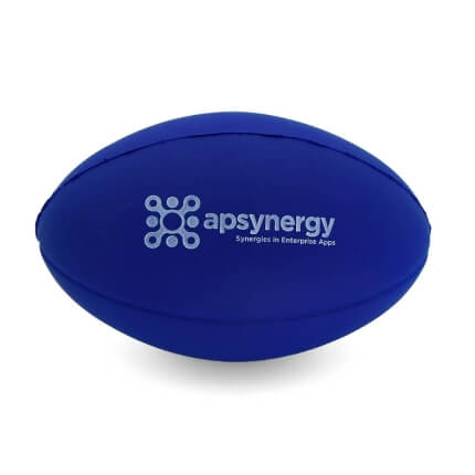 Blue Stress Rugby Ball Front View