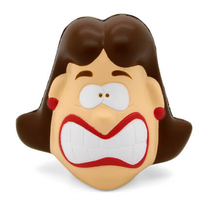 Crazy Face Female Stress Ball Front View