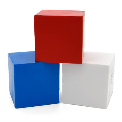 50mm Cube Shaped Stress Balls Group View