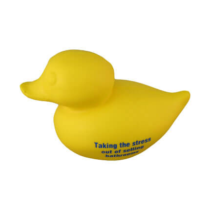Duck stress toy side view with logo