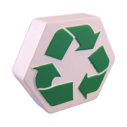 Recycle logo stress ball shape side view