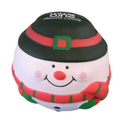 Snowman shaped stress ball with print