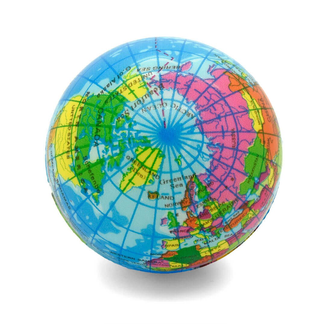 Globe Atlas Stress Ball Top View Arctic
