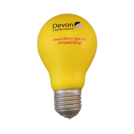 Light bulb shaped stress ball in yellow