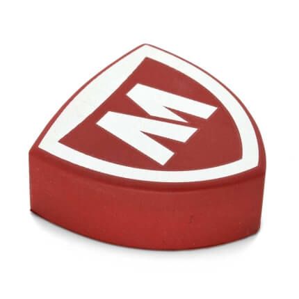Red Shield Shaped Stress Ball Side View