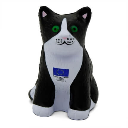 Black Cat Shaped Stress Ball Front View