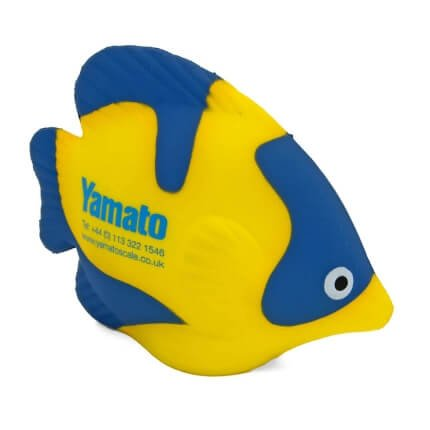 Tropical fish shaped stress ball in blue and yellow