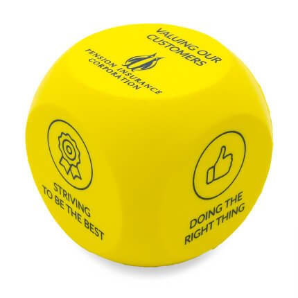 Yellow Decision Dice Stress Ball Side One