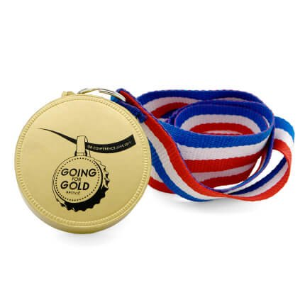 Medal Stress Ball in Gold Front View with Lanyard