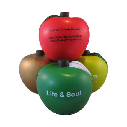 Apple shaped stress balls showing all available colours