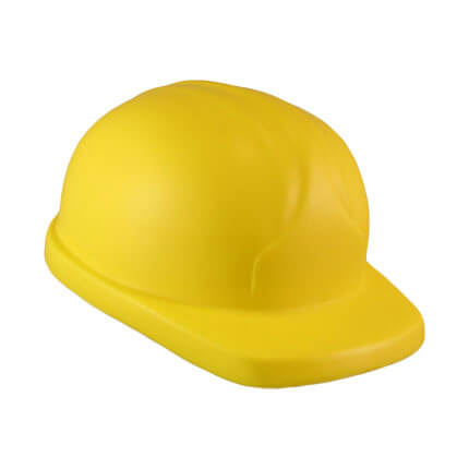 Hard hat shaped stress toy side view