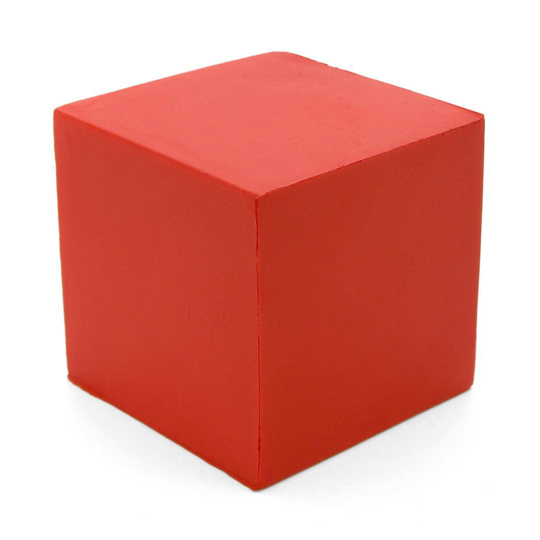 50mm Cube Stress Ball Red