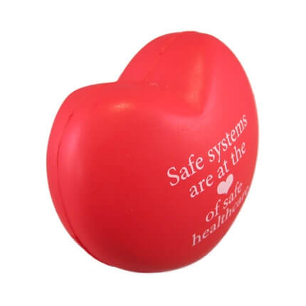 Red love heart shaped stress ball