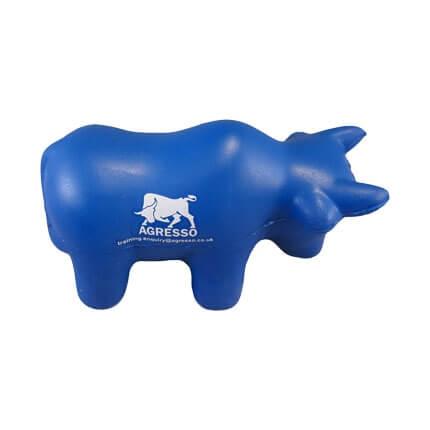 Bull shaped stress ball with logo