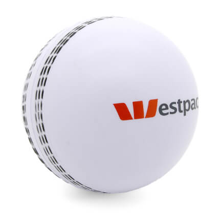 White Cricket Stress Ball Front View