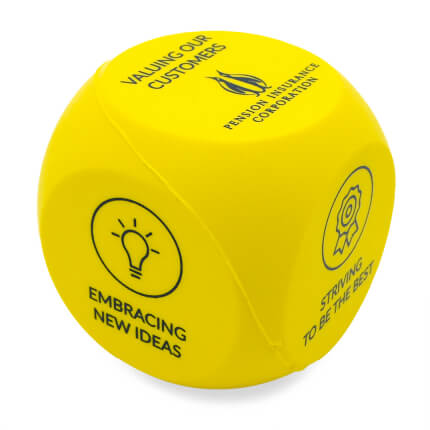 Yellow Decision Dice Stress Ball Side Two