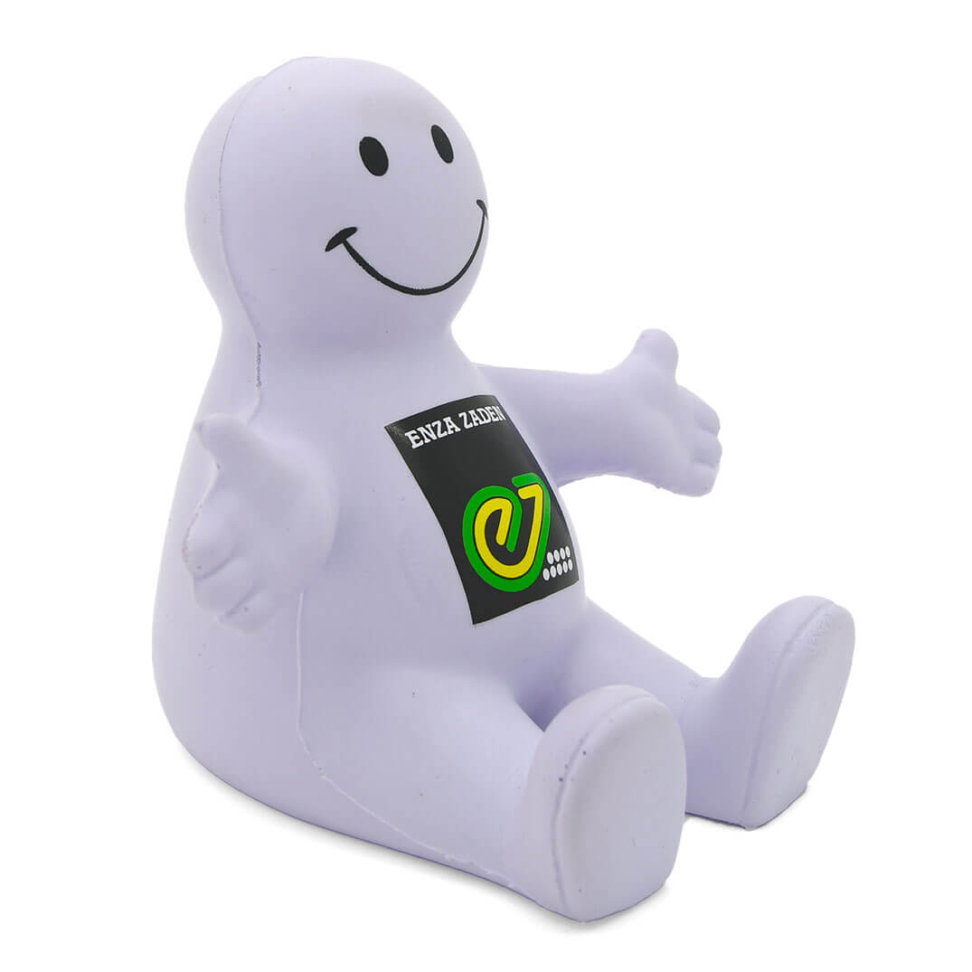 White Stress Smiley Phone Holder Alternate View