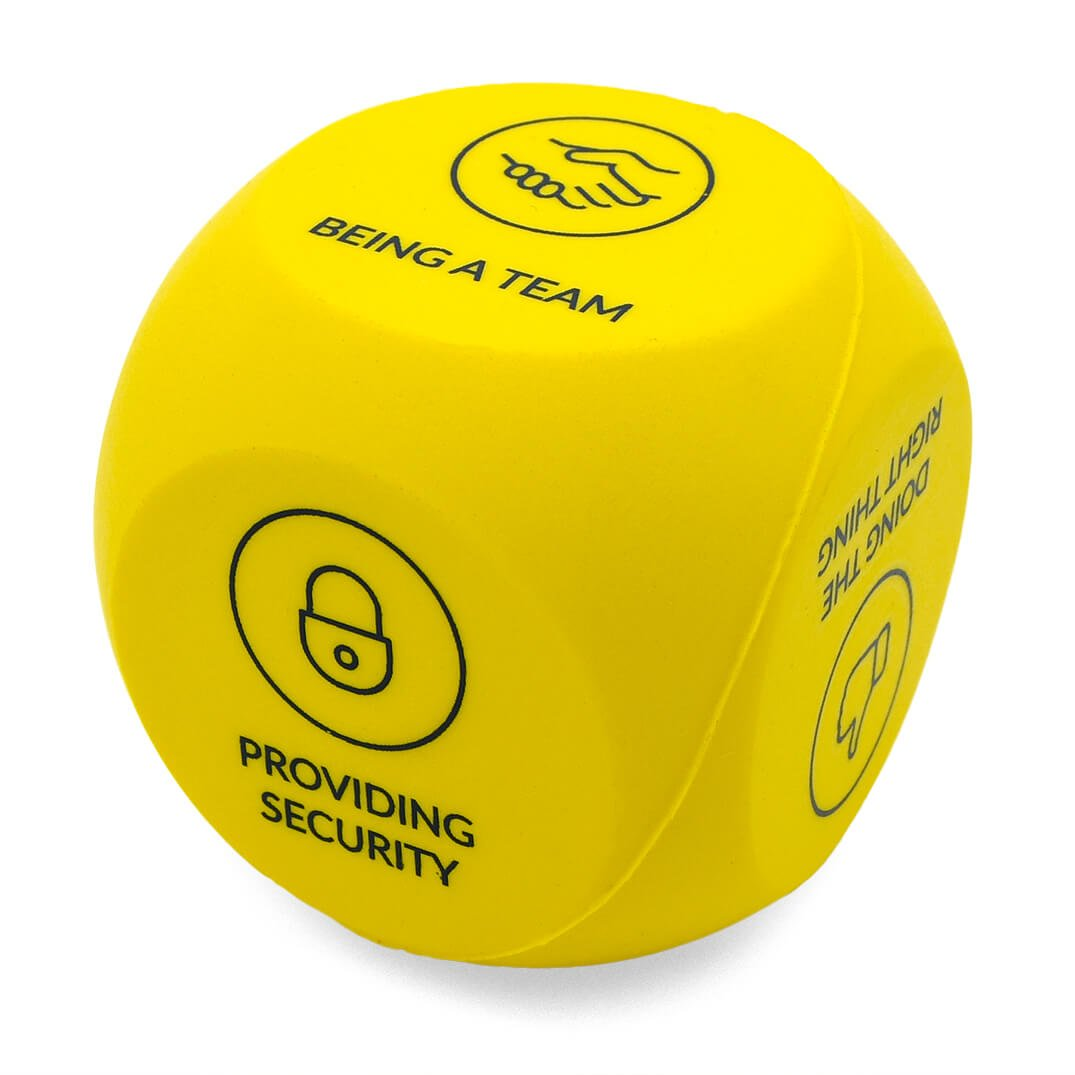 Yellow Decision Dice Stress Ball Side OThree