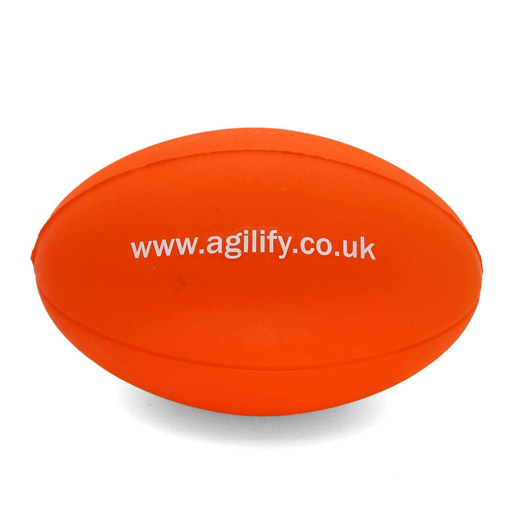 UK Made Orange Stress Rugby Ball Rear View
