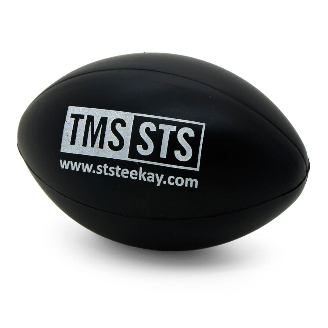 TeeKay Shipping Black Rugby Ball Angled View
